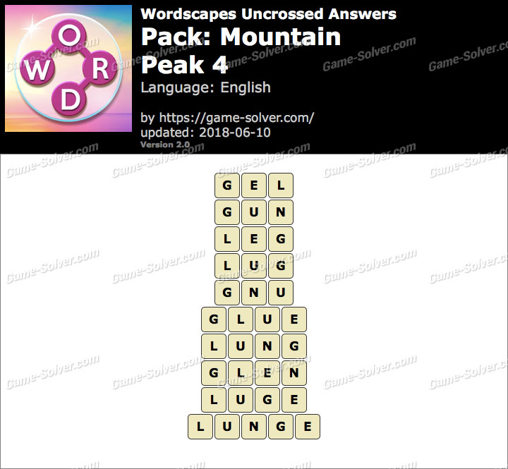 Wordscapes Uncrossed Mountain-Peak 4 Answers