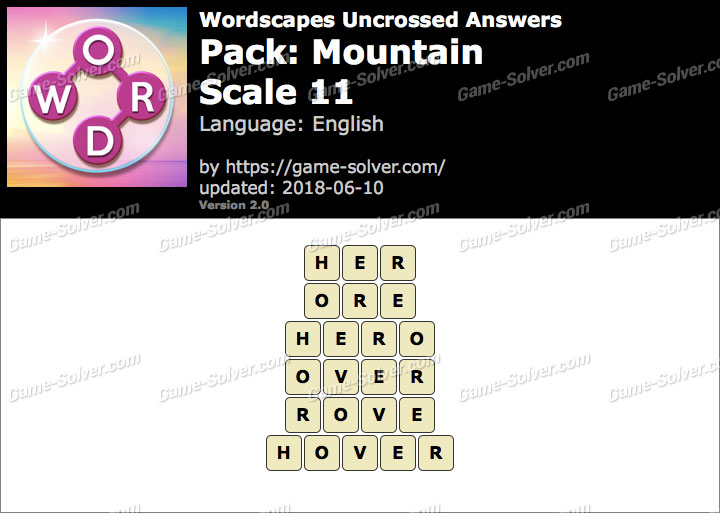 Wordscapes Uncrossed Mountain-Scale 11 Answers