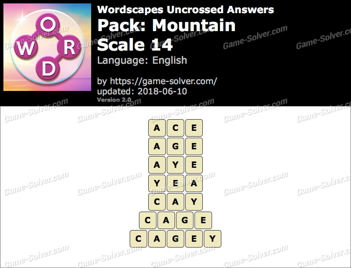 Wordscapes Uncrossed Mountain-Scale 14 Answers