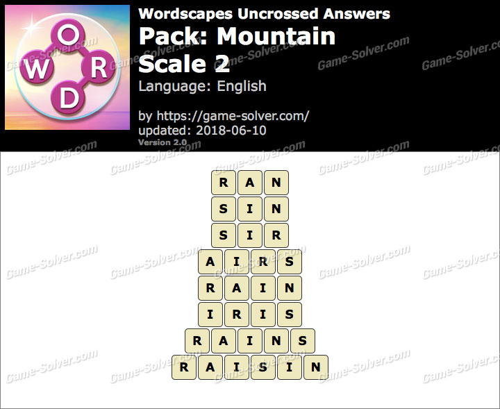 Wordscapes Uncrossed Mountain-Scale 2 Answers