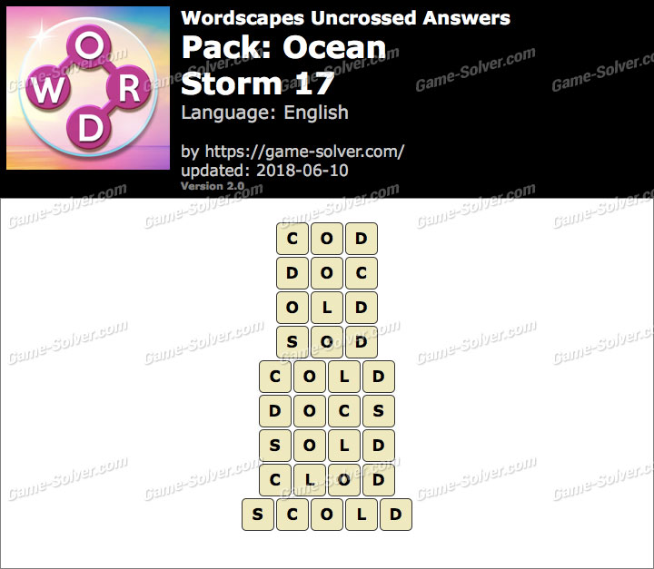 Wordscapes Uncrossed Ocean-Storm 17 Answers