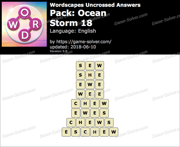 Wordscapes Uncrossed Ocean-Storm 18 Answers