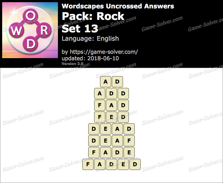 Wordscapes Uncrossed Rock-Set 13 Answers