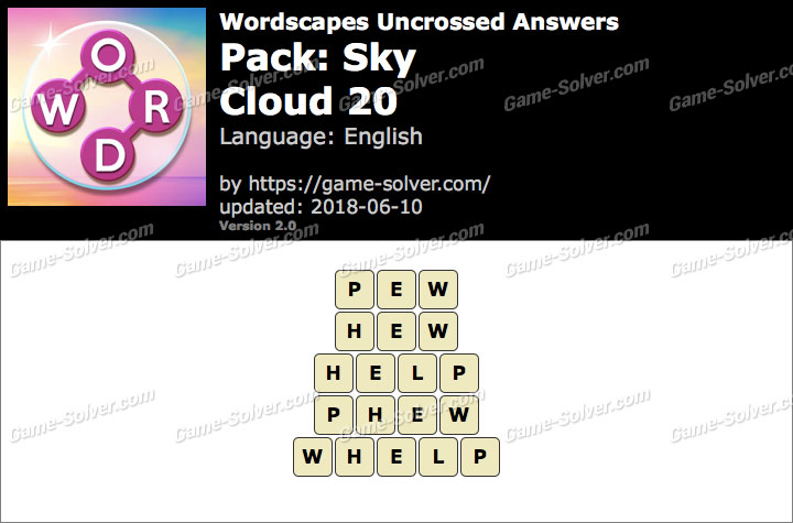 Wordscapes Uncrossed Sky-Cloud 20 Answers