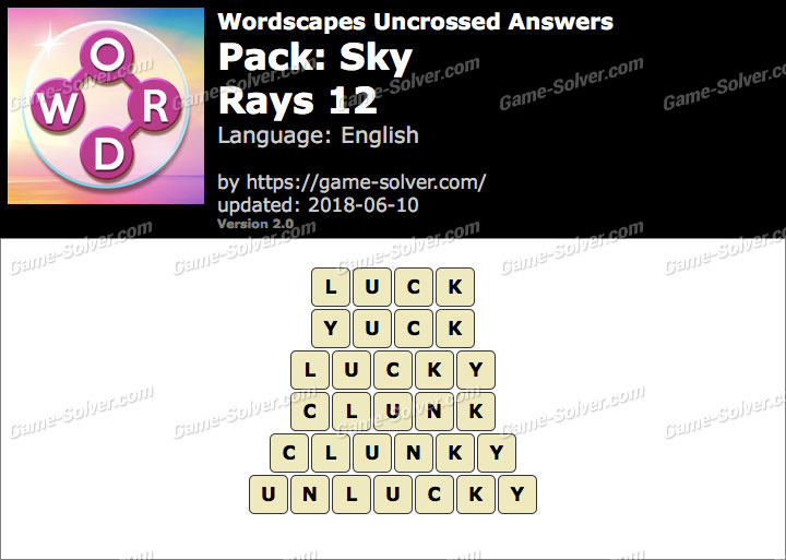 Wordscapes Uncrossed Sky-Rays 12 Answers