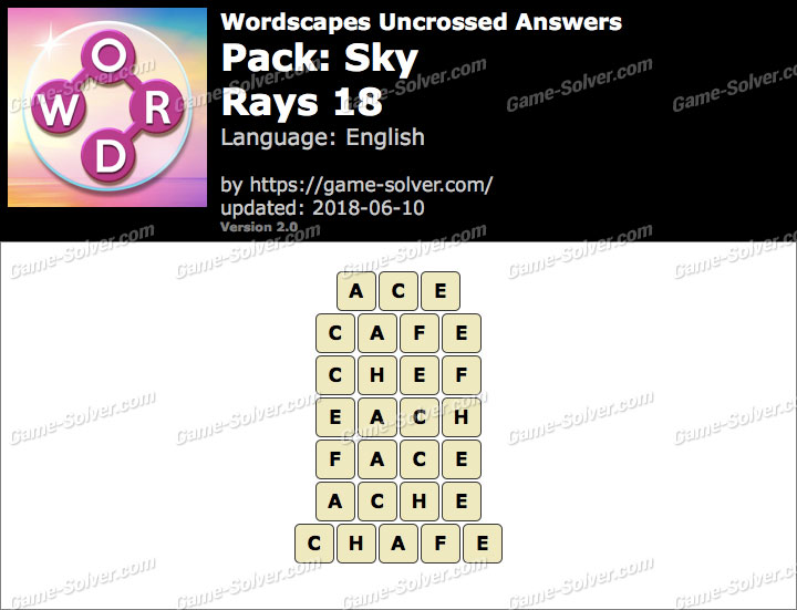 Wordscapes Uncrossed Sky-Rays 18 Answers
