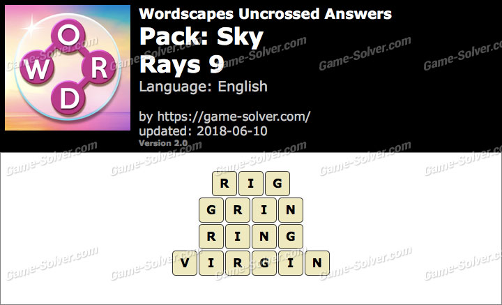 Wordscapes Uncrossed Sky-Rays 9 Answers