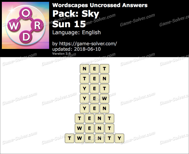 Wordscapes Uncrossed Sky-Sun 15 Answers
