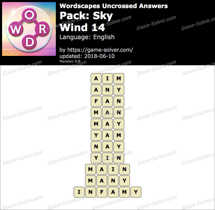 Wordscapes Uncrossed Sky-Wind 14 Answers