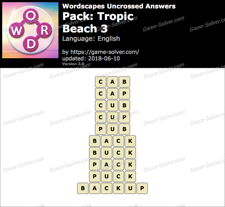 Wordscapes Uncrossed Tropic-Beach 3 Answers