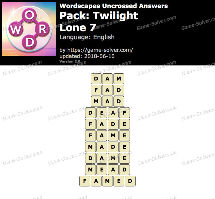 Wordscapes Uncrossed Twilight-Lone 7 Answers