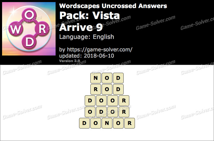 Wordscapes Uncrossed Vista-Arrive 9 Answers