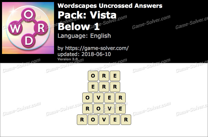 Wordscapes Uncrossed Vista-Below 1 Answers