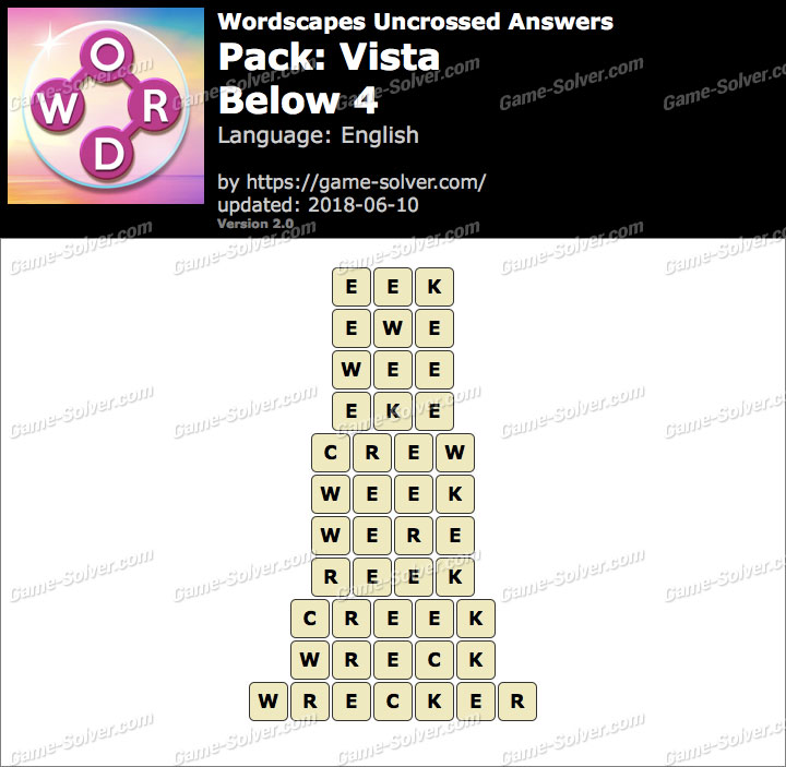 Wordscapes Uncrossed Vista-Below 4 Answers