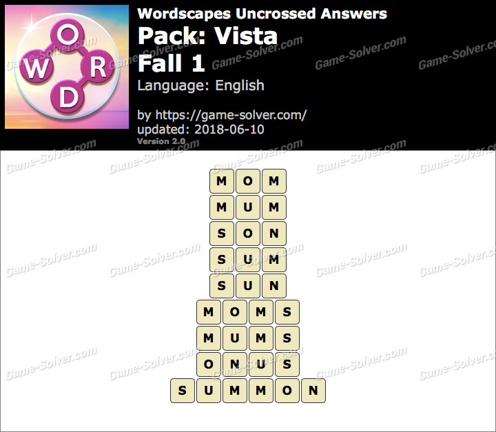 Wordscapes Uncrossed Vista-Fall 1 Answers