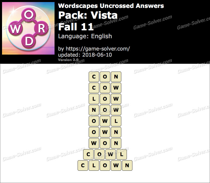 Wordscapes Uncrossed Vista-Fall 11 Answers