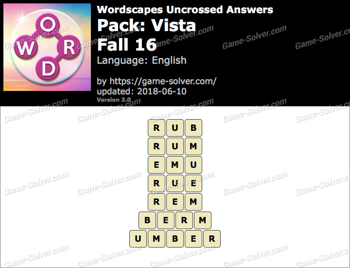 Wordscapes Uncrossed Vista-Fall 16 Answers