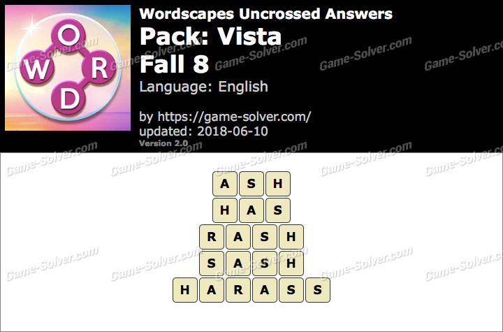 Wordscapes Uncrossed Vista-Fall 8 Answers