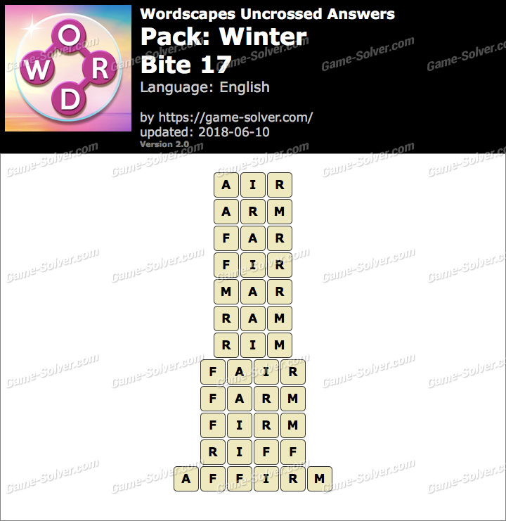 Wordscapes Uncrossed Winter-Bite 17 Answers
