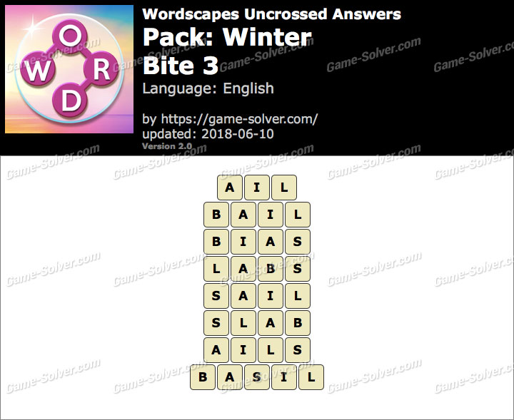 Wordscapes Uncrossed Winter-Bite 3 Answers