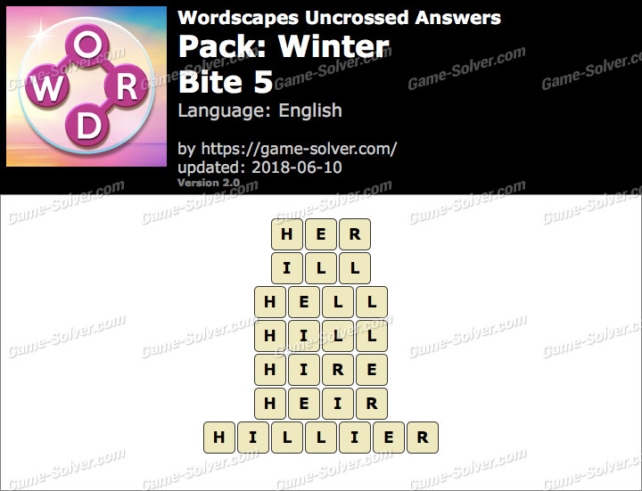 Wordscapes Uncrossed Winter-Bite 5 Answers