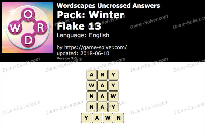 Wordscapes Uncrossed Winter-Flake 13 Answers