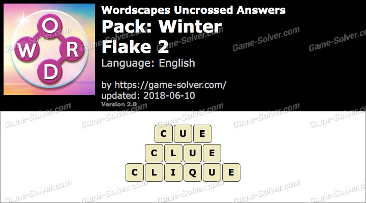 Wordscapes Uncrossed Winter-Flake 2 Answers