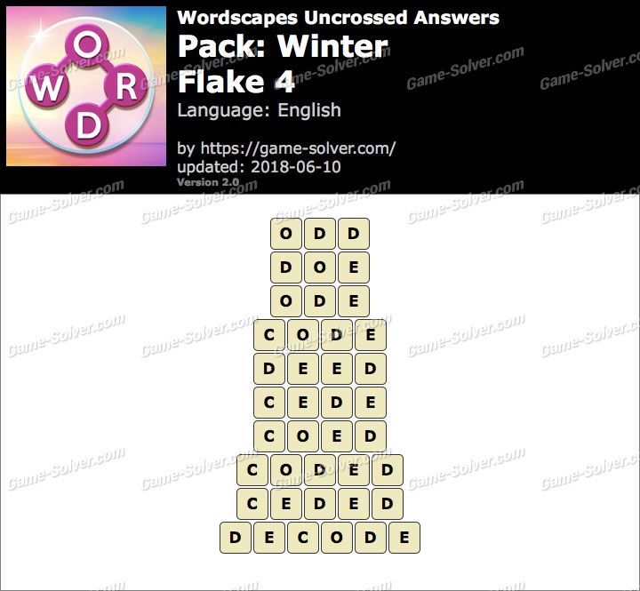 Wordscapes Uncrossed Winter-Flake 4 Answers