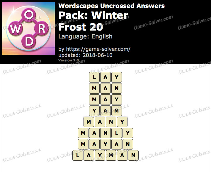 Wordscapes Uncrossed Winter-Frost 20 Answers