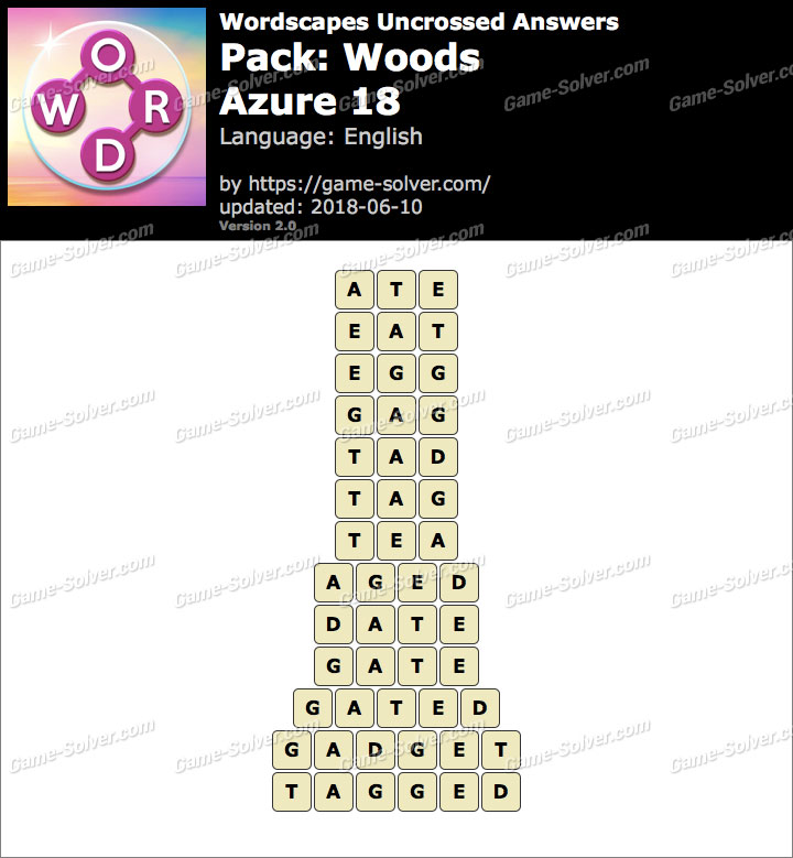 Wordscapes Uncrossed Woods-Azure 18 Answers