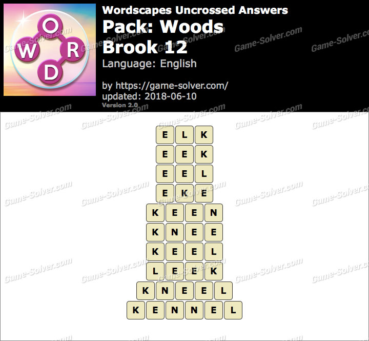 Wordscapes Uncrossed Woods-Brook 12 Answers