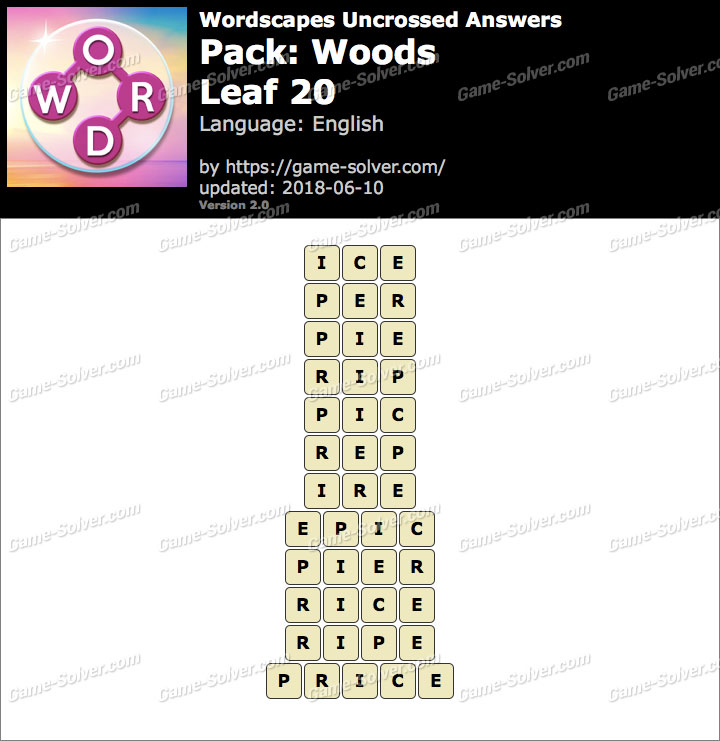 Wordscapes Uncrossed Woods-Leaf 20 Answers
