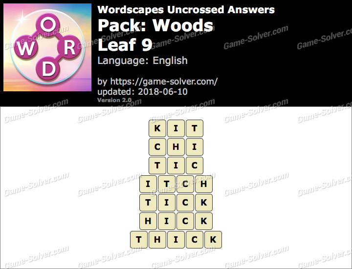 Wordscapes Uncrossed Woods-Leaf 9 Answers