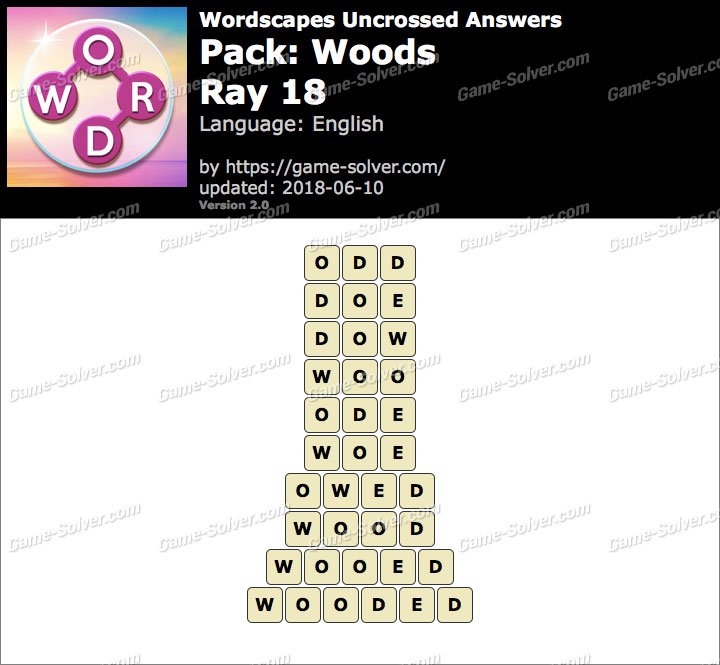 Wordscapes Uncrossed Woods-Ray 18 Answers