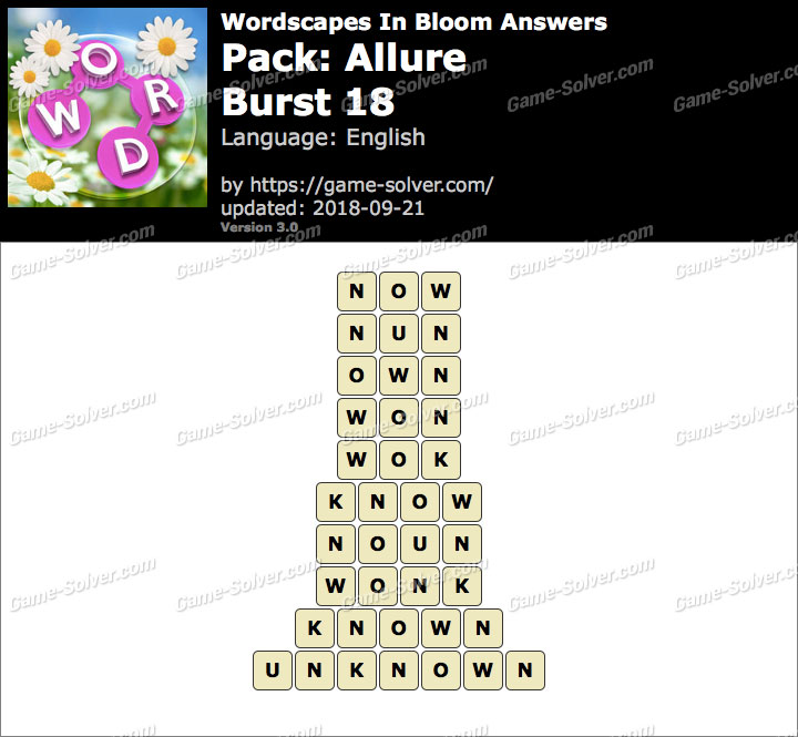Wordscapes In Bloom Allure-Burst 18 Answers