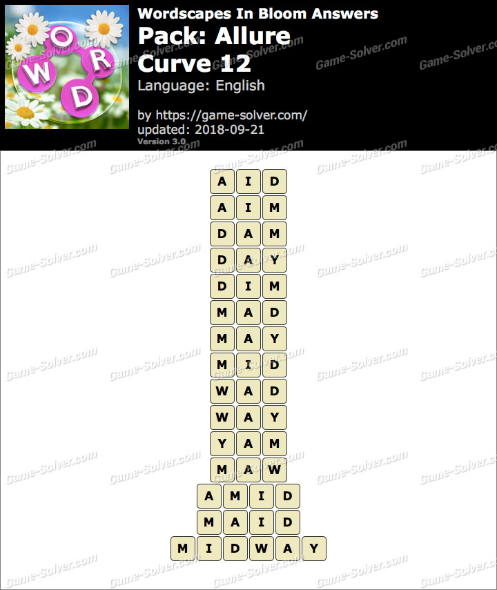 Wordscapes In Bloom Allure-Curve 12 Answers