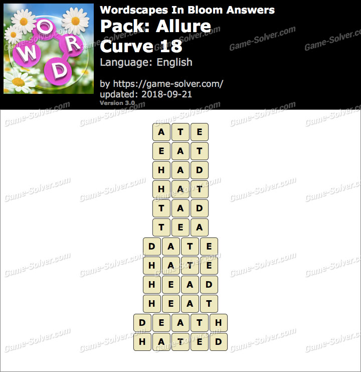 Wordscapes In Bloom Allure-Curve 18 Answers