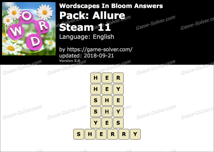 Wordscapes In Bloom Allure-Steam 11 Answers