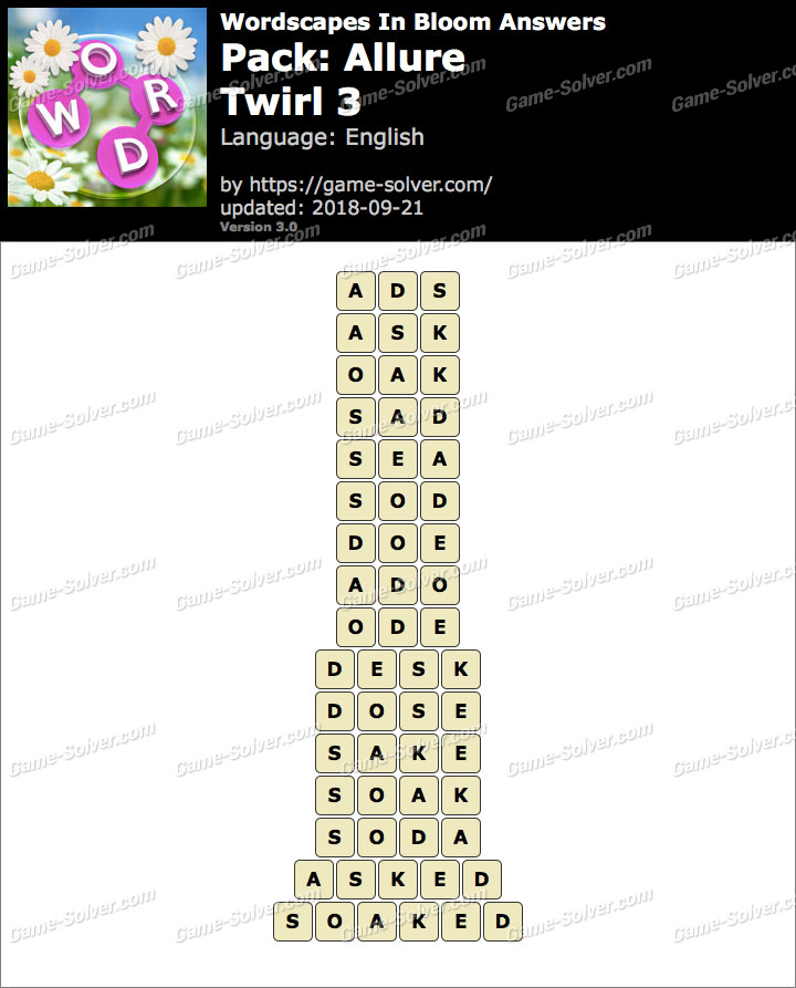 Wordscapes In Bloom Allure-Twirl 3 Answers