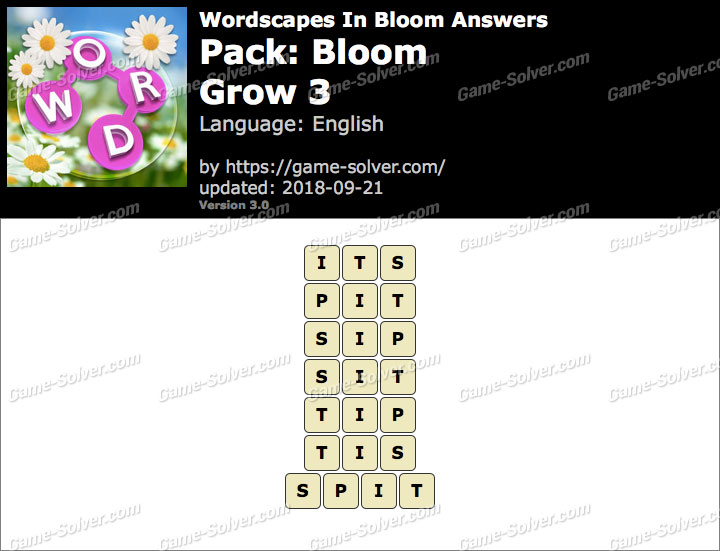 Wordscapes In Bloom Bloom-Grow 3 Answers