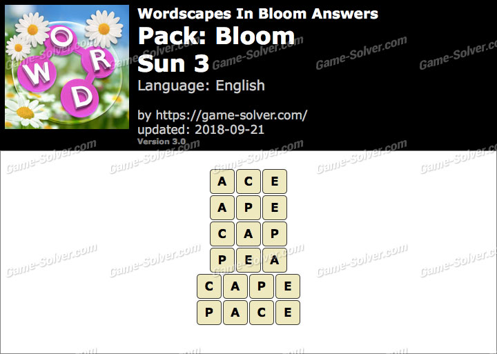 Wordscapes In Bloom Bloom-Sun 3 Answers