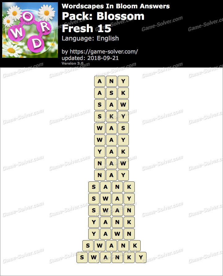 Wordscapes In Bloom Blossom-Fresh 15 Answers