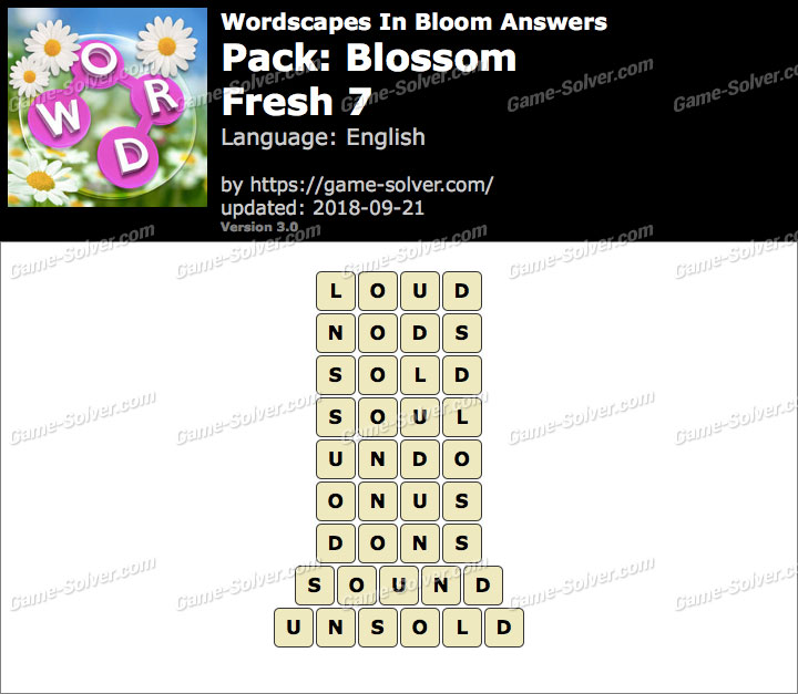 Wordscapes In Bloom Blossom-Fresh 7 Answers
