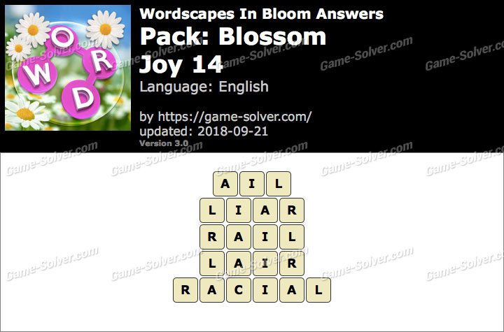 Wordscapes In Bloom Blossom-Joy 14 Answers