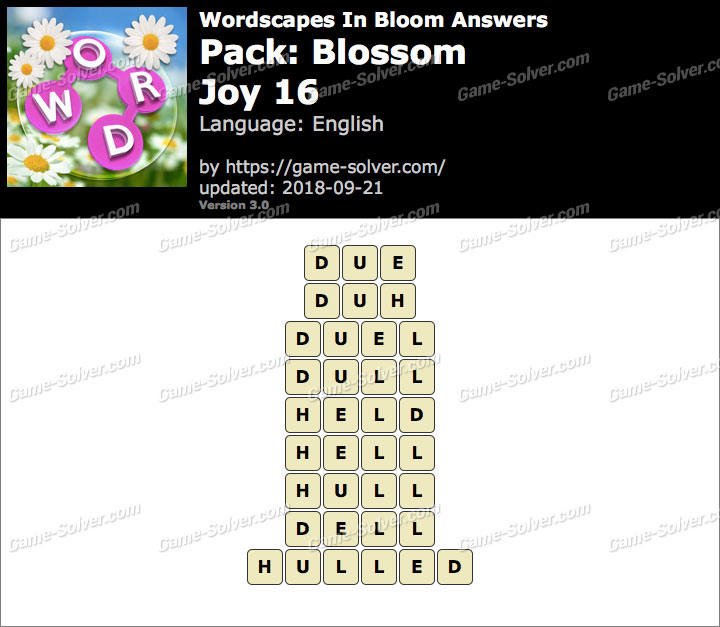 Wordscapes In Bloom Blossom-Joy 16 Answers