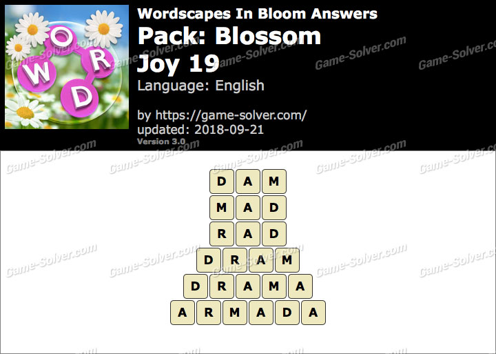 Wordscapes In Bloom Blossom-Joy 19 Answers