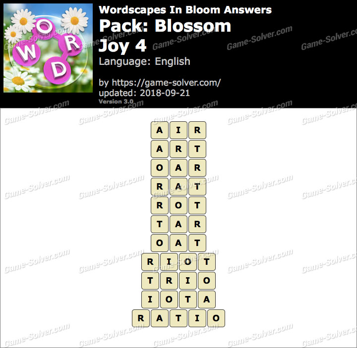 Wordscapes In Bloom Blossom-Joy 4 Answers