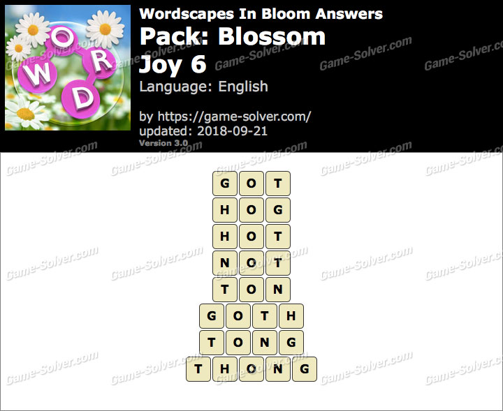 Wordscapes In Bloom Blossom-Joy 6 Answers