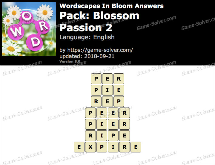 Wordscapes In Bloom Blossom-Passion 2 Answers
