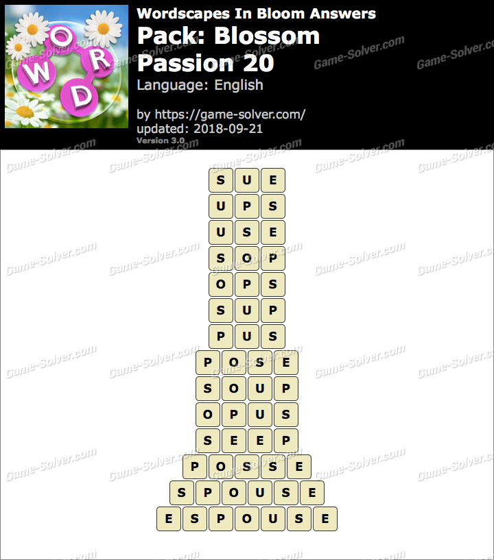 Wordscapes In Bloom Blossom-Passion 20 Answers